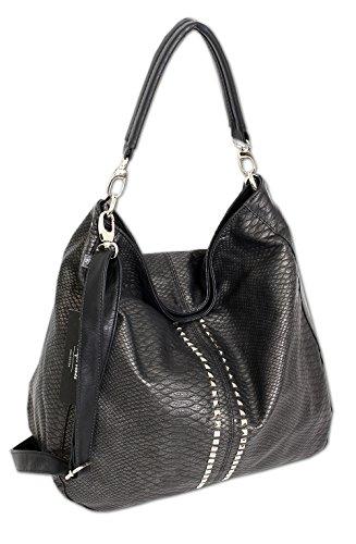 Jennifer Jones Taschen Damen Damentasche Handtasche Schultertasche Umhängetasche Tasche groß XL Hobo Bag schwarz (3447) (Medium Handtasche Hobo)