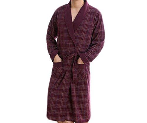 Frühling Und Herbst Der Männer Mit Langen Ärmeln Stricken Baumwolle Pyjama Nachthemd Bademantel Home-Service,Red-XL (Stricken Baumwolle Nachthemd)