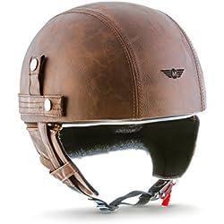 MOTO HELMETS D22-LEATHER - BRAINCAP - Casco de acero, medio casco, casco de moto, casco de vespa, roller, bobber, scooter, cruiser, vintage, chopper, biker, retro, incluye funda de tela