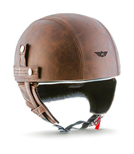 Moto Helmets D22-Casco cruiser in pelle, stile vintage, con borsa per il trasporto in tessuto