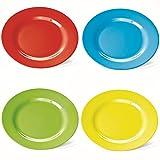 4 Kunststoff-Teller / Frühstücksteller, flach, 20cm, aus Melamin, 4 farbig sort. (rot, grün, blau, gelb)