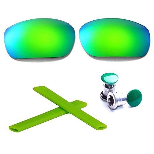 Walleva Polarisierte Linsen + Gummi + Bolzen für Oakley Jawbone - Mehrfache Optionen (Emerald Linsen + Grüner Gummi + Grüner Bolzen)