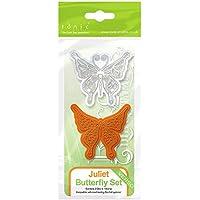 Tonic Studios - Set di fustelle e timbri in stile rococò, a forma di cuore con motivo farfalla Juliet, 3 pezzi, colore grigio/arancione