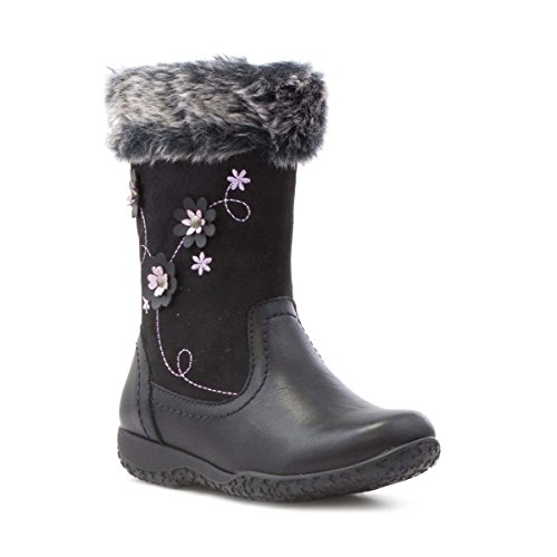 Walkright Girls Black Embroidered Flower Calf Boot - Size 9 Child UK - Black