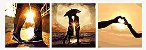 Wowdecor kit dipingere con i numeri per adulti bambini Junior principianti per anziani, dipinto di numeri set di 3pezzi Set–Sunset lovers Romantic Love 16x 20x P cm Framed