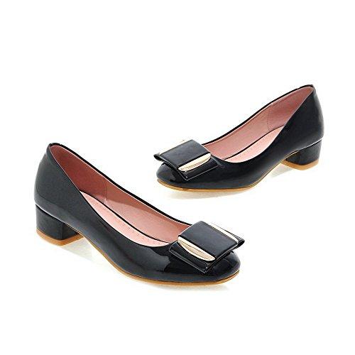 VogueZone009 Femme Verni Tire Carré à Talon Bas Mosaïque Chaussures Légeres Noir