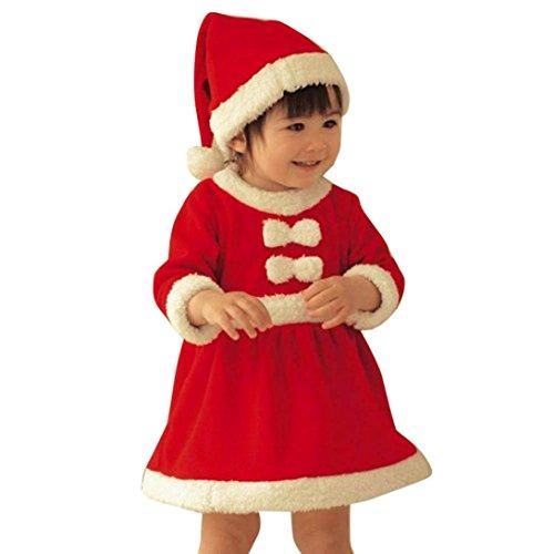 Baby Mädchen Kleider Weihnachtskostüm Longra Kinder Weihnachten Kleidung Set Warm Langarm Weihnachten Kleid mit Weihnachtsmütze Hochzeit Bankett Party Kleid (Red, 95-105CM ()