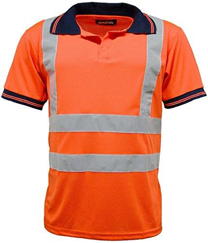 StandSafe Hohe Vis Sichtbarkeit Kurz Ärmel Polo T Shirt EN471–HV004 Gr. XX-Large, New Orange (Trim Kontrast Polo)