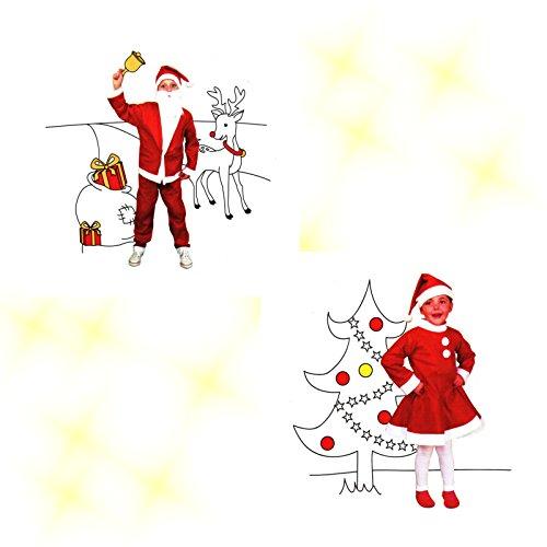Kinder Weihnachts-Kostüm Set Mädchen & Junge, Weihnachtsmann, Mädchen & Junge 3-6 Jahre