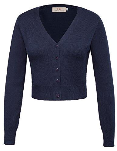 cardigan damen kurz strickjacke langarm outwear strickmantel S CLAF20-3