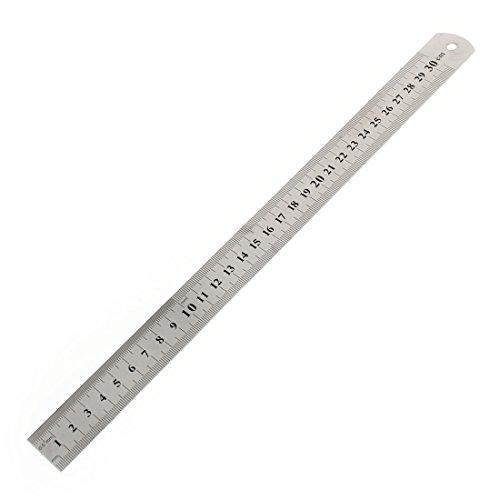 De accesorios para estudiante de 30 cm 30,48 cm Regla de albañil en ambas caras de llaves de tono plateado