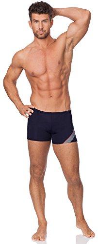 Hommes Shorts de Bain Modèle Bob Bleu Foncé/Gris/Rouge