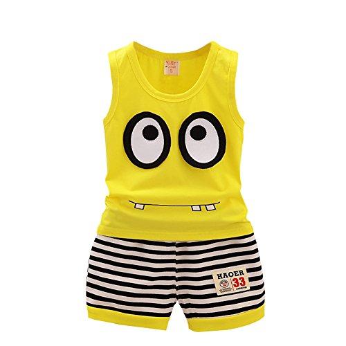 Bestanx Baby jungen Mädchen Baumwolle Weste Shirt+ Stripe Shorts Set 1-5Y (Stripe Short Summer)