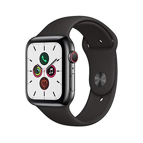 Apple Watch Series 5 (GPS+Cellular, 44 mm) Boîtier en Acier Inoxydable Noir Sidéral - Bracelet Sport Noir