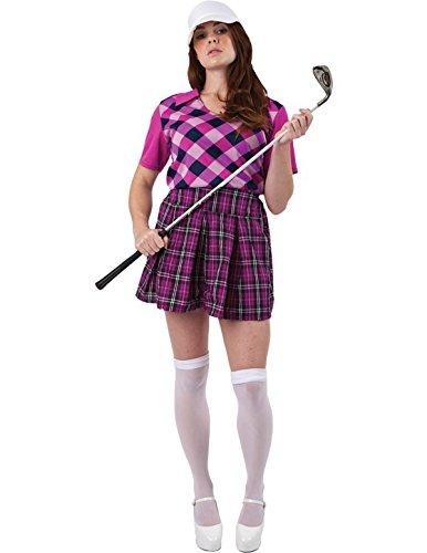 Damen Golfspieler Kostüm (Erwachsene Damen Kostüm Karneval Fasching Verkleidung Golfspieler Extra)