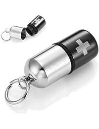 Colgante pastillero, diseño de cruz, acero inoxidable, cadena de 54 cm, color negro y plata, en estuche