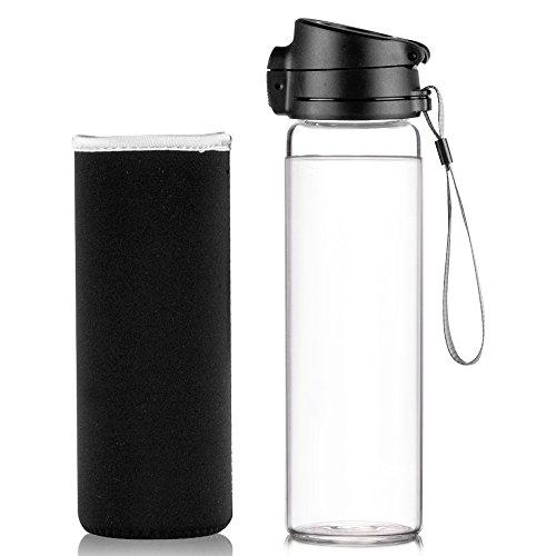 Reeho® Tragbare 510ml Sportflasche Trinkflasche aus Glas, BPA-frei Wasserflasche Glas, Borosilikat Glasflasche Mit Nylon Tasche, Flaschen für Wandern, Fitnessstudio , Laufen Schwarz