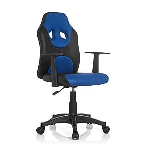 hjh OFFICE Kid Racer Al Silla Infantil, Piel_sintética, Multicolor (Negro/Azul), 41x51x100 cm