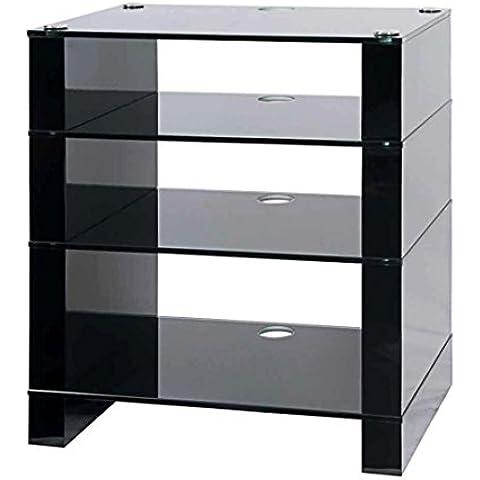 Soporte Hifi, Hi-Fi Rack, AV Audio Soporte, color negro con estantes de cristal