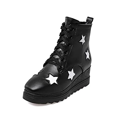 VogueZone009 Women's Assorted Color PU Boots with Thread and Star Pattern, Black, 35
