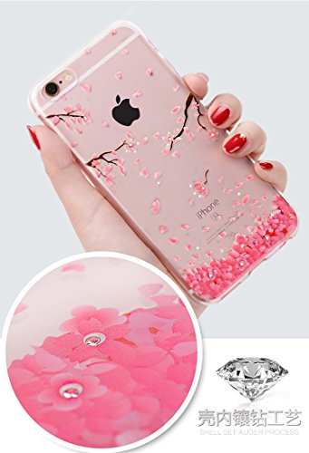 iPhone 7 Gel Coque,Apple iPhone 7 (4,7 Pouces) Étui,CLTPY [Cerise Peint Motif Style] Transparente Bling Brillante Diamant Silicone Shell pour iPhone 7,Ultra Slim Super Léger Anti-Rayures Souple TPU Bu Rose