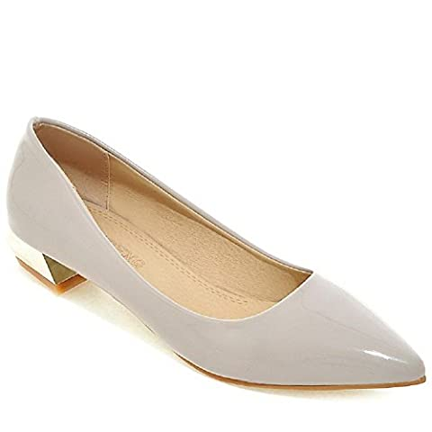 AllhqFashion Women's Pointed Closed Toe Low Heels Patent Leather Solid Pull On Pumps-Shoes, Gray,