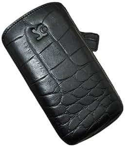 Suncase Ledertasche mit Rückzugsfunktion für das Samsung Galaxy S3 (i9300) in croco-schwarz