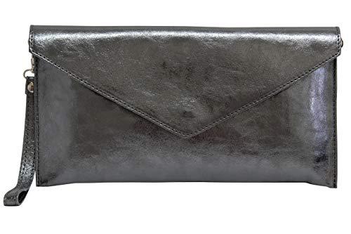 AmbraModa Damen Envelope Clutch Handschlaufe Damentasche aus Leder in Metallic-Farben M801 (Anthrazit Metallic) Grau Metallic-leder