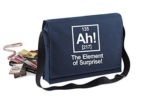 AH! Element Of Surprise-Unisex-lustige Sprüche Neuheit Bagbase Konferenz Messenger Bag- Navy blau