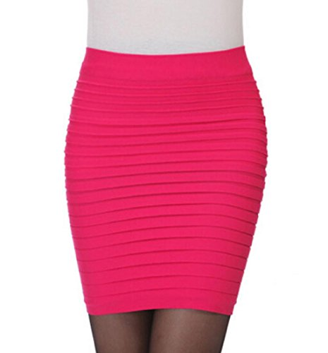 Skirt Rcool Damen Mini Business Pencil Kleid Stretch Bleistiftrock Knielang Bleistiftröcke (Pencil-skirt Rosa)