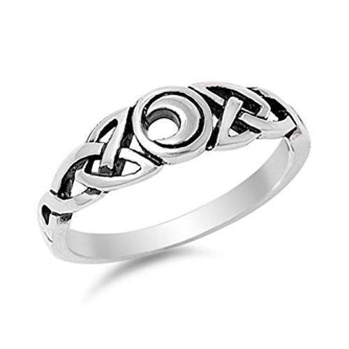 Anillo de plata de la luna celta - Tamaño, 9...