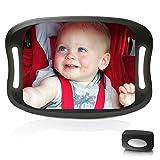 Miroir Auto pour bébé avec télécommande éclairage LED souple incassable pour bébé en acrylique Miroir pour voiture, Rétroviseur easily Observer chaque déplacement de bébé, sécurité Ajustable sur 360°