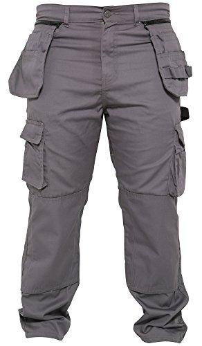 Qaswa Hombres Trabajo Pantalones Tarea pesada Carga Desmontable Multi Bolsillos Trabajando Combate...