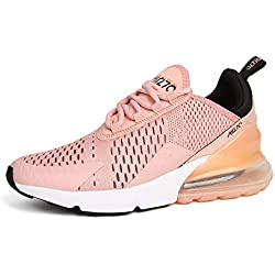 Hojert Air 270 Chaussures de Running Compétition Homme Sneakers Chaussure de Course Sport Walking Shoes (37.5 EU, Rose/Noir/Blanc (25))