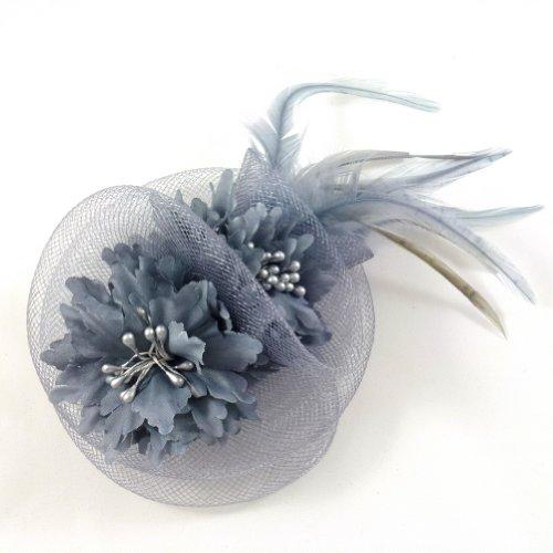 rougecaramel - Accessoires cheveux - Broche fleur / pince cheveux mariage 11cm - gris