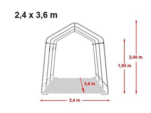 TOOLPORT Garagenzelt 2,4 x 3,6 m in grün, Unterstand, Carport -Zelt mit Stabiler Stahlrohrkonstruktion und 260g/m² Plane
