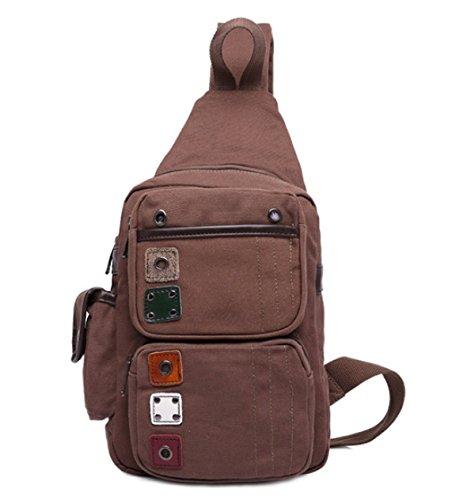 BULAGE Taschen Kreativ Leinwand Männer Brusttaschen Retro Lässig Schulter Schulranzen Persönlichkeit Schön Schön Lässig Handtaschen Brown