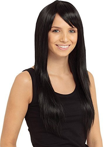 Damen Party Kostüm Zubehör lang Länge Hitze Stil Haare Olivia Perücke - Schwarz, One size (Perücken Stil Schwarze Haare)