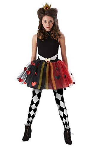 Tween Queen Of Hearts Girls Costume Wonderland Kids Accessory Set Fancy Dress (Small 11 -12 Years)