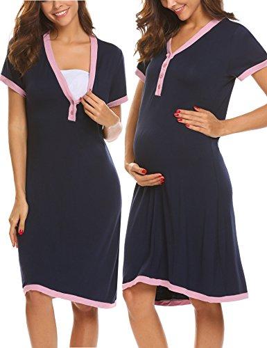 Unibelle camicia da notte premaman vestito da maternità donna abito di maternità abito scollo a v a maniche corte elegante navy blu xl