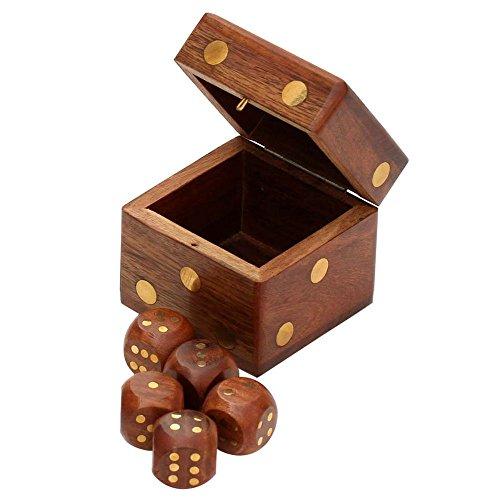 SouvNear Quadrat Würfel Box - 6 Cm - Braun - Handgefertigt in Holz fur Kinder (Kunst Und Kunsthandwerk-speicher)