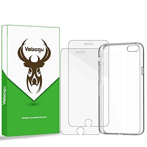Vabogu iPhone 8/7Plus Displayschutzfolie & Fall Combo, Crystal Clear Hülle und 2-Pack [HD Klar] [gehärtetem Glas] Premium Displayschutzfolie für Apple iPhone 8Plus (2017), iPhone 7Plus (2016) Combo Premium Screen Protector