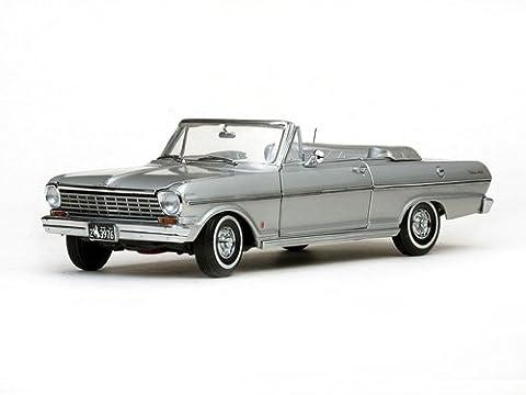 1963 Chevrolet Nova Open Convertible Satin Silver 1/18 by Sunstar 3976 by Sunstar