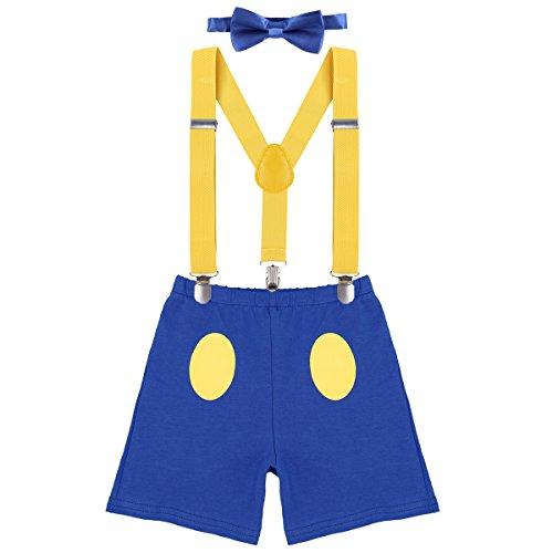 IWEMEK Baby 1. / 2./ 3. Geburtstag Kostüm Jungen Mädchen Donald Duck Karneval Cospaly Outfit Hosenträger Hosen mit Fliege Stirnband 3pcs / 4pcs Bekleidungssets Fotoshooting Cartoon 09 12-18 Monate