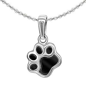 Clever Schmuck Set Silberner Kinder Anhänger kleine Tier Pfote Tatze 8 mm Hund Katze schwarz lackiert und mit feiner Kette Anker 40 cm STERLING SILBER 925