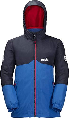 Jack Wolfskin B ICELAND 3IN1 JKT, wasser- und winddichte Outdoor Jacke, Winterjacke für Jungen mit warmer Fleece-Innenjacke, robuste Regenjacke für Jungen mit Reflektoren,coastal blau,152
