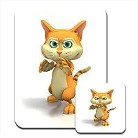 Grazioso gattino arancione che fa Karate & Tappetino per mouse e sottobicchiere
