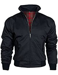 Warrior Mens Harrington Vintage Jacket Coat Mod Tartan Check Black
