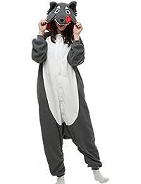 Unisex Animal Pijama Ropa de Dormir Cosplay Kigurumi Onesie Lobo Disfraz para Adulto Entre 1,