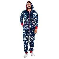 Baijiaye herr dam jul tryckt stycke pyjamas fleece mysig huva icke-fotad Onesie jumpsuit nattkläder med fickor